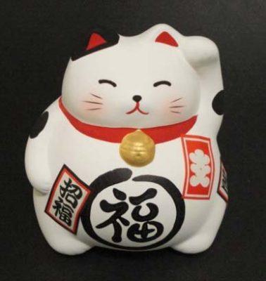 White Ceramic Maneki Neko Lucky Cat - Cat Lover Gifts