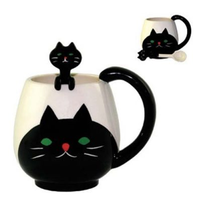 CAT Ceramic Mug & Spoon Set (Japan) - Cat Lover Gifts