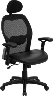 Black Mesh Chair with Italian Leather
