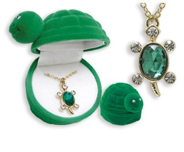 Turtle Crystal Pendant Necklace in Turtle shaped Gift Box - 5 Gift Ideas for Her Under $5