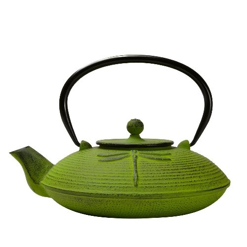 Green Dragonfly Cast Iron Japanese Teapot