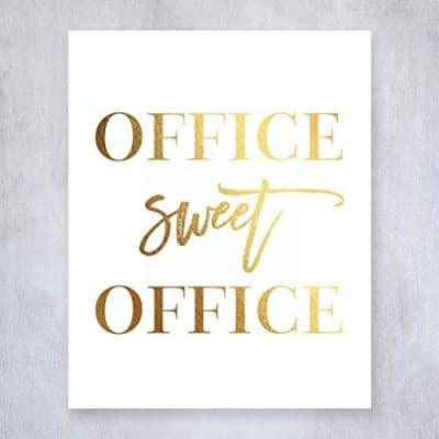 Office Sweet Office Gold Foil Wall Art