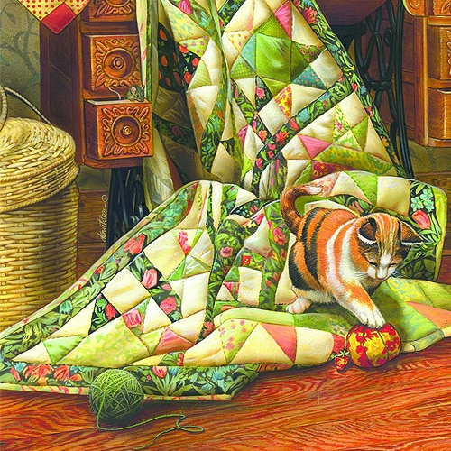 Cat on a Quilt 1000pc Jigsaw Puzzle