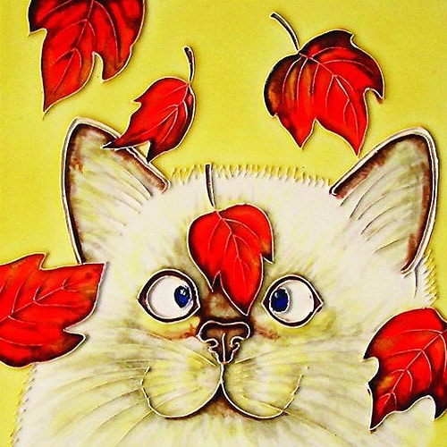 Cat with Red Leaves Art Tile in Beige