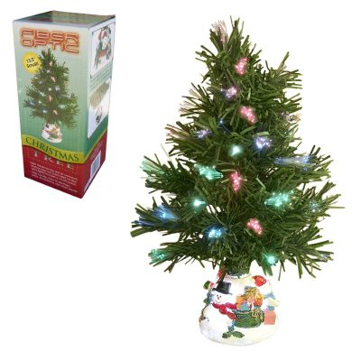 Christmas Tree Fiber Optic With Lights And Decorative Base Perfect For Holidays