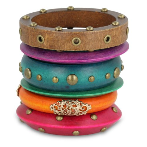 Set of Six Multi-Colored Assorted Wooden Bangle Bracelets