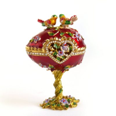 Vintage Hand Painted Love Bird Faberge Egg Rhinestone Jewerly Trinket Box