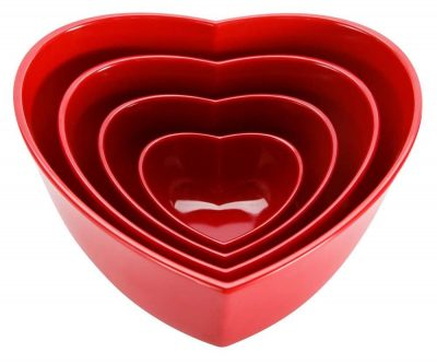 Zak Designs 4-Piece Heart-Shaped Serving Bowl Set