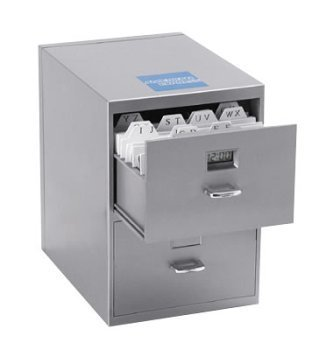 Miniature File Cabinet for Business Cards with Built-in Digital Clock