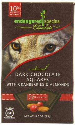 Endangered Species Wolf, Dark (72%) with Cranberries & Almonds, 10-Count Individually Wrapped Pieces (Pack of 6)