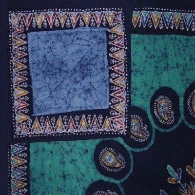 Double-sided Reversable Duvet Multi-batik Cover, Full/queen, Blue/teal