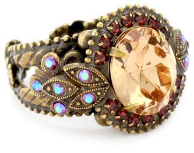 """Sorrelli """"Tapestry"""" Crystal Vintage Inspired Adjustable Gold-Tone Ring - Vintage Gifts"""