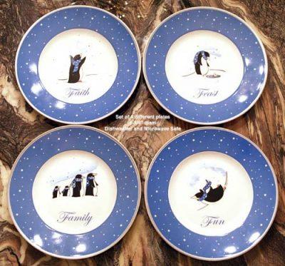 "Reed & Barton Set 4 Penguin 9"" Plates Gift Boxed"