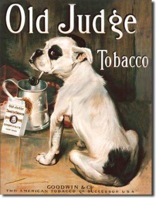 Old Judge Tobacco Bull Dog Retro Vintage Tin Sign - Vintage Gifts