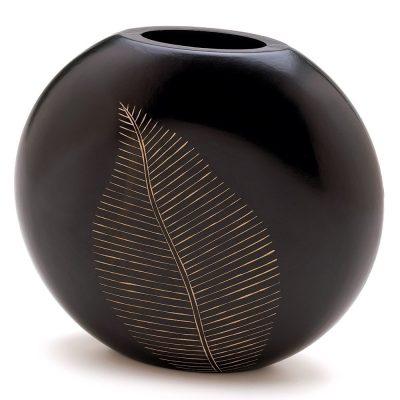 Artisan Carved Leaf Motif Decorative Vase