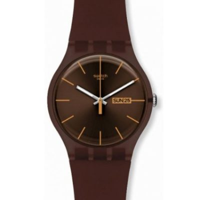 Swatch Originals Cacao Rebels Brown Dial Brown Silicone Mens Watch