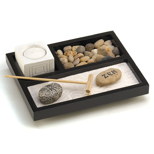Tabletop Zen Sand Rocks Candle Holder Garden Kit