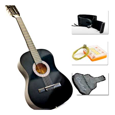 38 Inch Black Acoustic Guitar Starter Package (Guitar, Gig Bag, Strap, Pick)