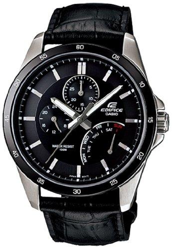 Casio Mens EF341L-1AV Black Leather Quartz Watch with Black Dial