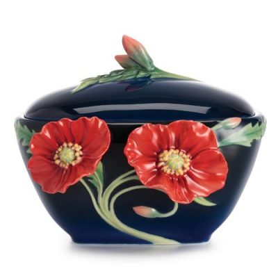 Franz Porcelain Serenity Poppy Flower Sugar Jar