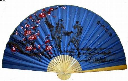 """Oriental Feng Shui Wall Fan - Blue Horses"""""""