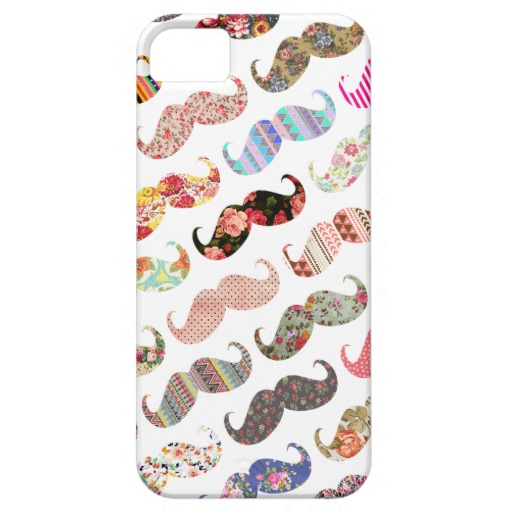 Funny Girly Colorful Patterns Mustache iPhone 5 Cover