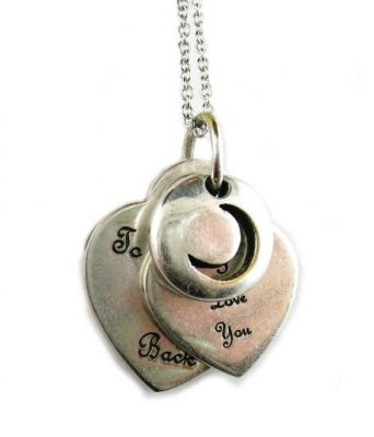 """""""I Love You to the Moon and Back"""" Heart Charm Necklace Pendant"""