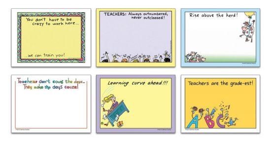 Oatmeal Studios Self-stick Note Pad Humorous Assortment, Teachers