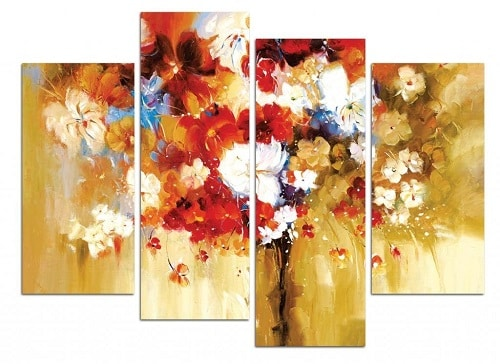 Bouquets of Flowers 4 Panel Canvas Wall Painting