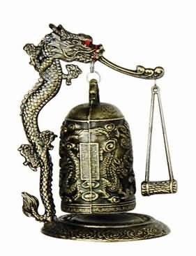 Zen Art Brass Feng Shui Desktop Dragon Windbell