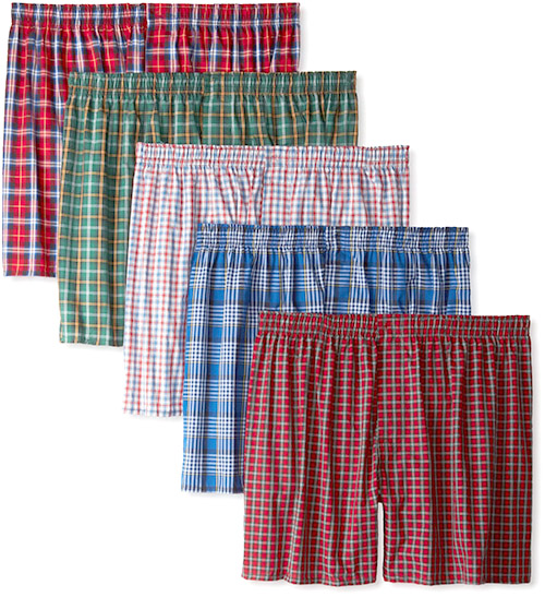 Hanes Men's Classics 5 Pack Tartan Boxer - Valentines Day Gift Ideas for Husband