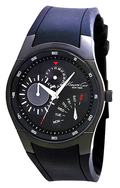 Kenneth Cole New York Men's KC1908 Slim Gunmetal IP Round Multi-Function Silicone Watch