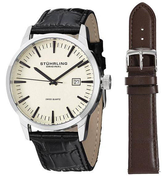 Stuhrling Original Men's 555A.03 Classic Ascot II Swiss Quartz Date Beige Dial Strap Set Watch