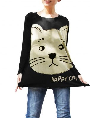 Cat Print Stretchy Loose Shirt