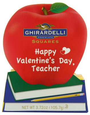 Ghirardelli Valentine's Chocolate Squares, Teacher's Apple Gift, 3.72-Ounce Apple Gift Box