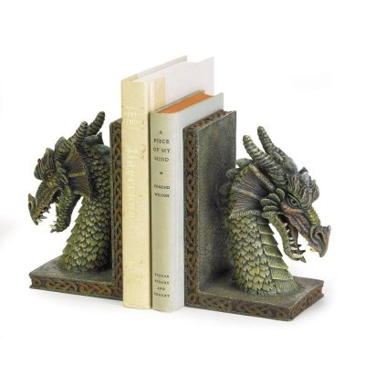 Fierce Dragon Mystical Muted Soft Green Color Bookend