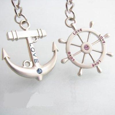Couple Nautical Charms Love Keychain