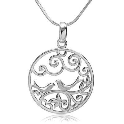 Chuvora Filigree Lovebirds on Tree Branch Pendant Necklace