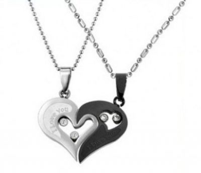 Couple Stainless Steel Necklace Sets I Love You Heart Shape Pendant