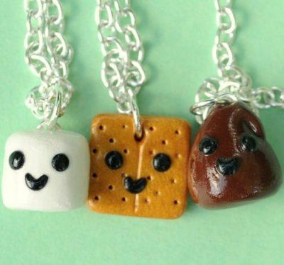 Handmade S'Mores Three-Way Best Friend Necklaces
