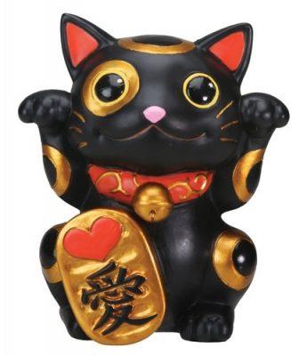 Black Maneki Neko Money Lucky Cat Statue