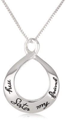 "Sterling Silver ""My Sister My Friend"" Circle Pendant Necklace"