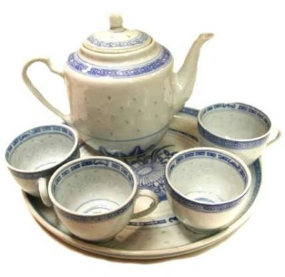 Chinese Blue and White Rice Pattern Tea Set