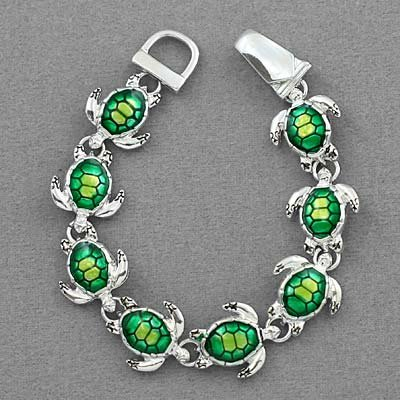 Silver Tone Green Turtle Charm Bracelet - Valentines Day Gifts for Mom