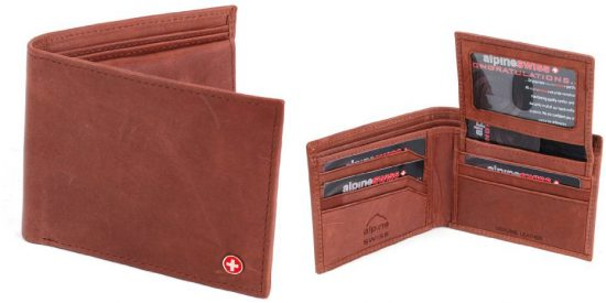 Alpine Swiss Mens Leather Bifold Wallet with Flip up ID Window