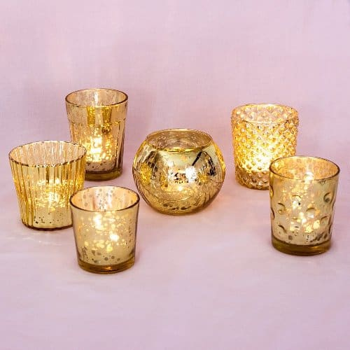 Mercury Glass Tea Light Candle Holders