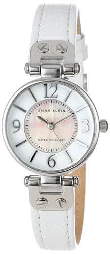 Anne Klein Women's Leather Silver-Tone White Leather Strap Watch