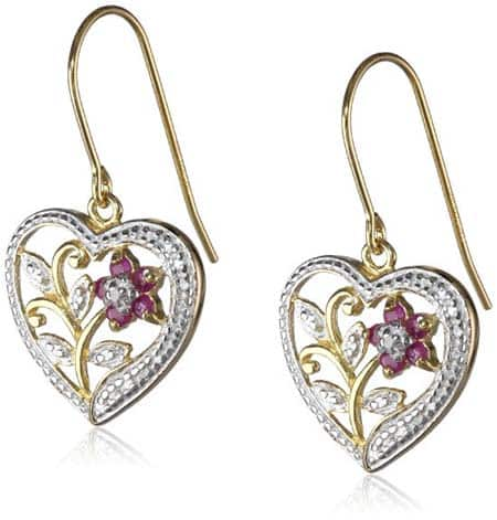 Gold-Plated Silver Ruby and Diamond Accent Heart Earrings
