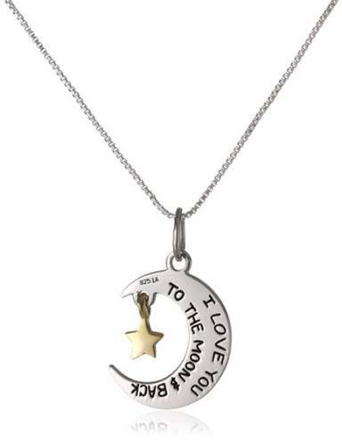 I Love You To The Moon and Back -- Moon and Star Pendant Necklace