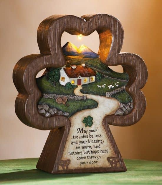 Irish Blessing Shamrock Lighted Tabletop Decoration
